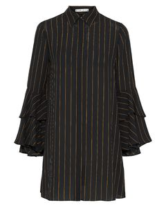 Jem ruffled pinstriped crepe de chine mini shirt dress