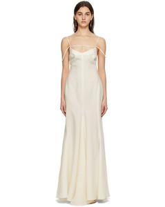 灰白色La Robe Camargue亚麻连衣裙