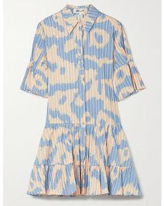 Beata Tiered Leopard-print Cotton-jacquard Mini Shirt Dress