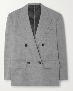 拉链细节双排扣梭织西装外套