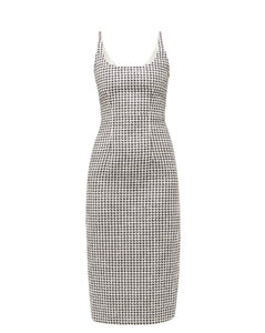 Sequinned tailored houndstooth dress