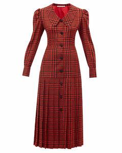 Pleated houndstooth silk-crepe midi dress