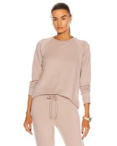 Favorite Raglan Crew Pullover Sweatshirt in Beige
