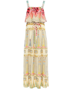 Athena layered printed voile maxi dress