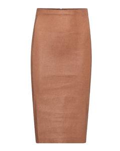 Scarlett皮革高腰中长半身裙