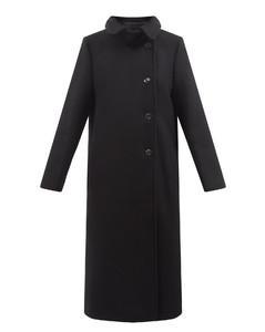 Longline felted-wool coat