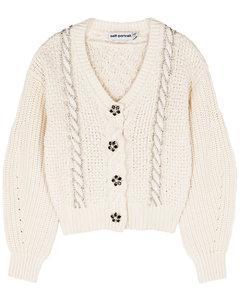 Ivory crystal-embellished cotton-blend cardigan