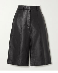 Nora Pleated Leather Shorts