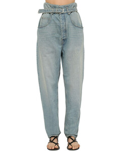 Gloria High Waist Belted Denim Jeans