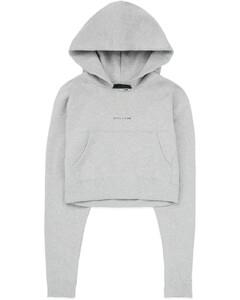 Visual Cropped Hoodie - Grey