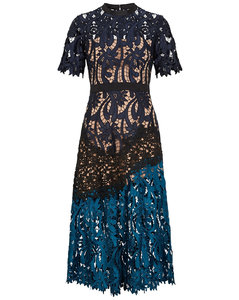 Prairie floral guipure lace midi dress