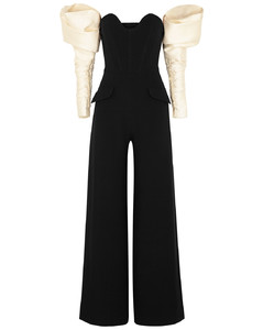 Black strapless wide-leg jumpsuit