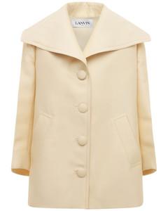 Wool & Silk Coat W/ Pleated Back Detail