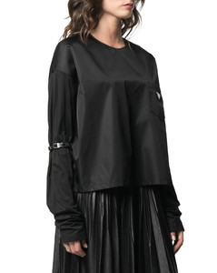 strapped-sleeve logo blouse