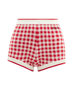 Logo-embroidered gingham wool shorts