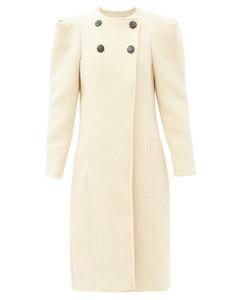 Fezio gathered-shoulder wool-blend coat