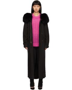 SSENSE发售黑色Jazzy皮毛长款大衣