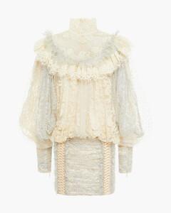 Woman Swiss-dot Tulle-paneled Ruffled Metallic Cotton-blend Lace Mini Dress