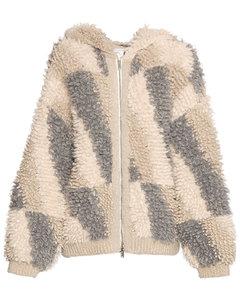 Alpaca Blend Knit Zip-up Hoodie