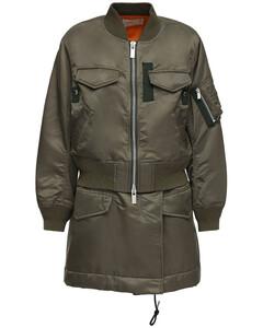 Layered Nylon Twill Zip-up Short Coat