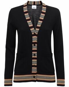 Cauca Merino Knit Cardigan W/ Stripe