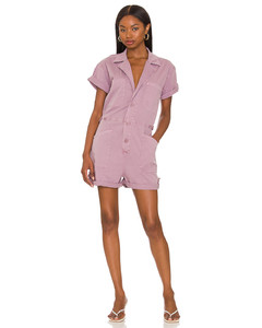 Exaggerated-shoulder leather shirt dress