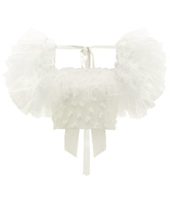 Tulle-sleeve bow-appliquécropped top