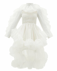 Ruffled dip-hem silk-organza dress