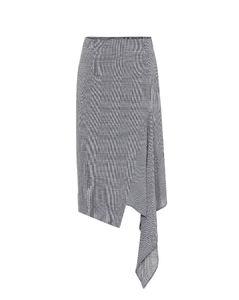 千鸟格羊毛不对称半身裙