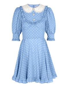 Blue polka-dot silk mini dress