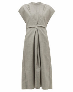 Raw-edge wool dress