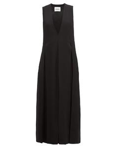 Envers V-neck matte satin dress
