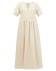 Side-stripe V-neck linen dress