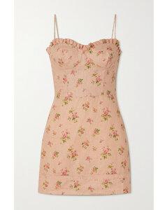 Andie Lace-trimmed Floral-print Linen Mini Dress