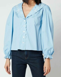Women's Darcy Embroidered Collar Cotton Blouse - Blue Cotton
