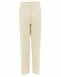 Press-creased cotton-blend tricotine trousers