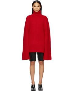 红色高领毛衣