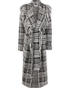 Flounce detail tricotine tech coat