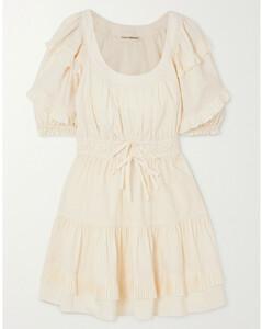 Naomi Ruffled Cotton-poplin Mini Dress