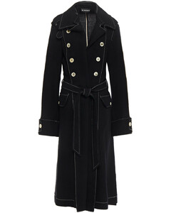 Woman Double-breasted Wool And Linen-blend Crepe Trench Coat