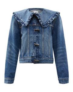 Ruffled-collar denim jacket