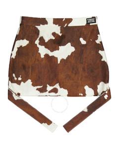 Cotton Linen Strap Detail Animal Print Mini Skirt