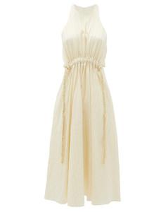 Drawstring-waist striped-satin dress