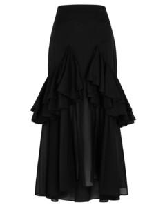 Coja ruffled-trimmed cotton midi skirt