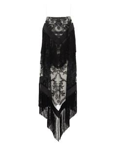 Tasselled tulle-overlay twill dress