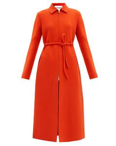 Zip-through tie-waist wool coat
