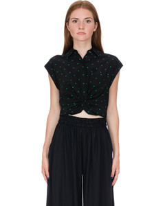 Printed Silk Twist Front Collared Cropped Shirt - Black