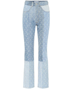 Printed high-rise straight jeans