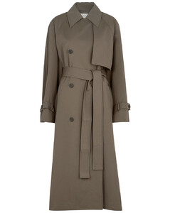 Kereem army green belted trench coat