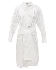 Cutout tie-front cotton-voile shirt dress